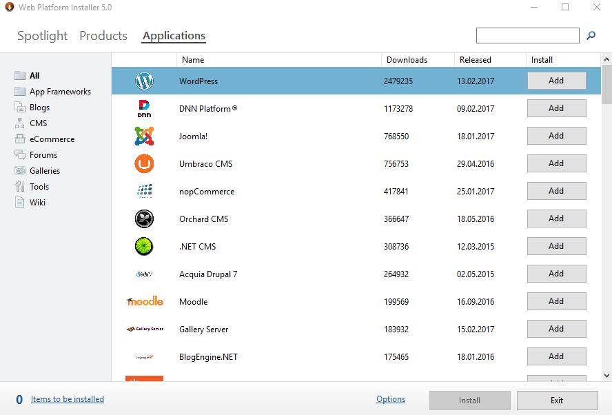 Microsoft Web Platform Yükleyicisi