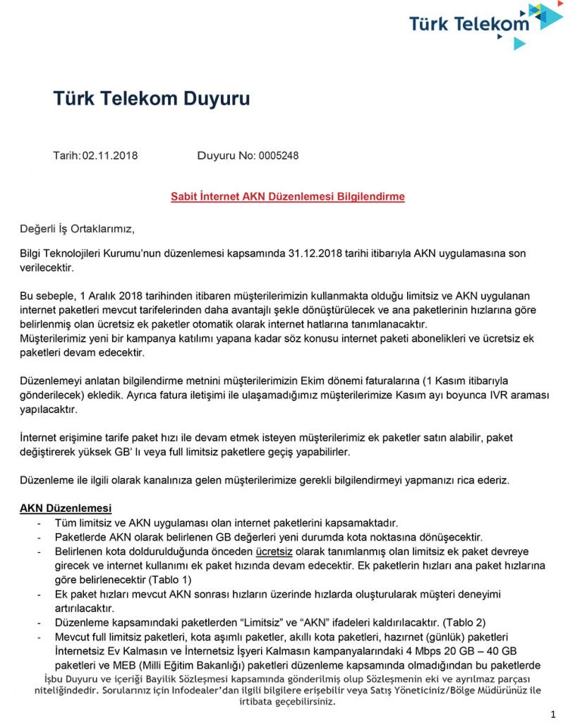 Türk Telekom AKN Duyuru